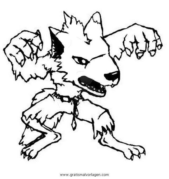 Werwolf Ausmalbilder  werwolf 6 gratis Malvorlage in Fantasie Monster ausmalen