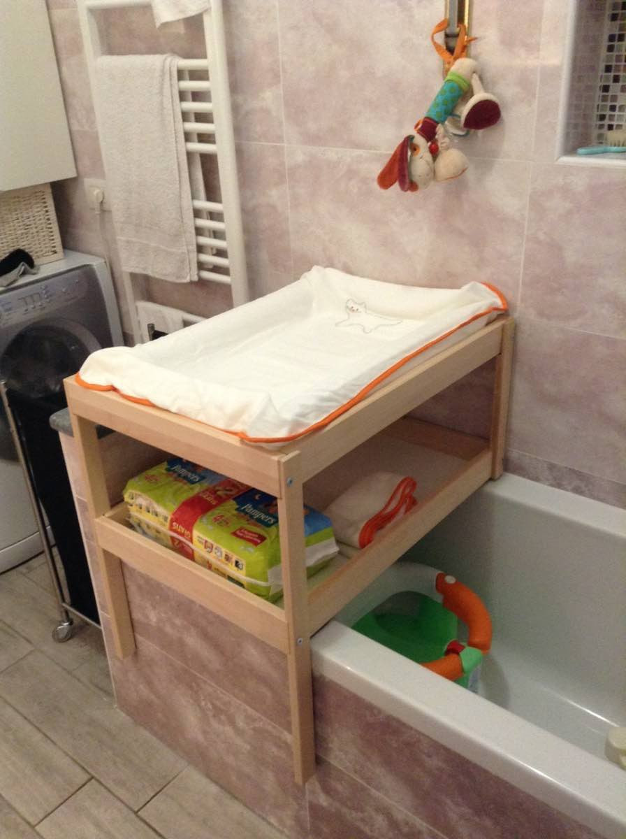 Wickeltisch Diy  Over bathtub changing table for small spaces IKEA Hackers
