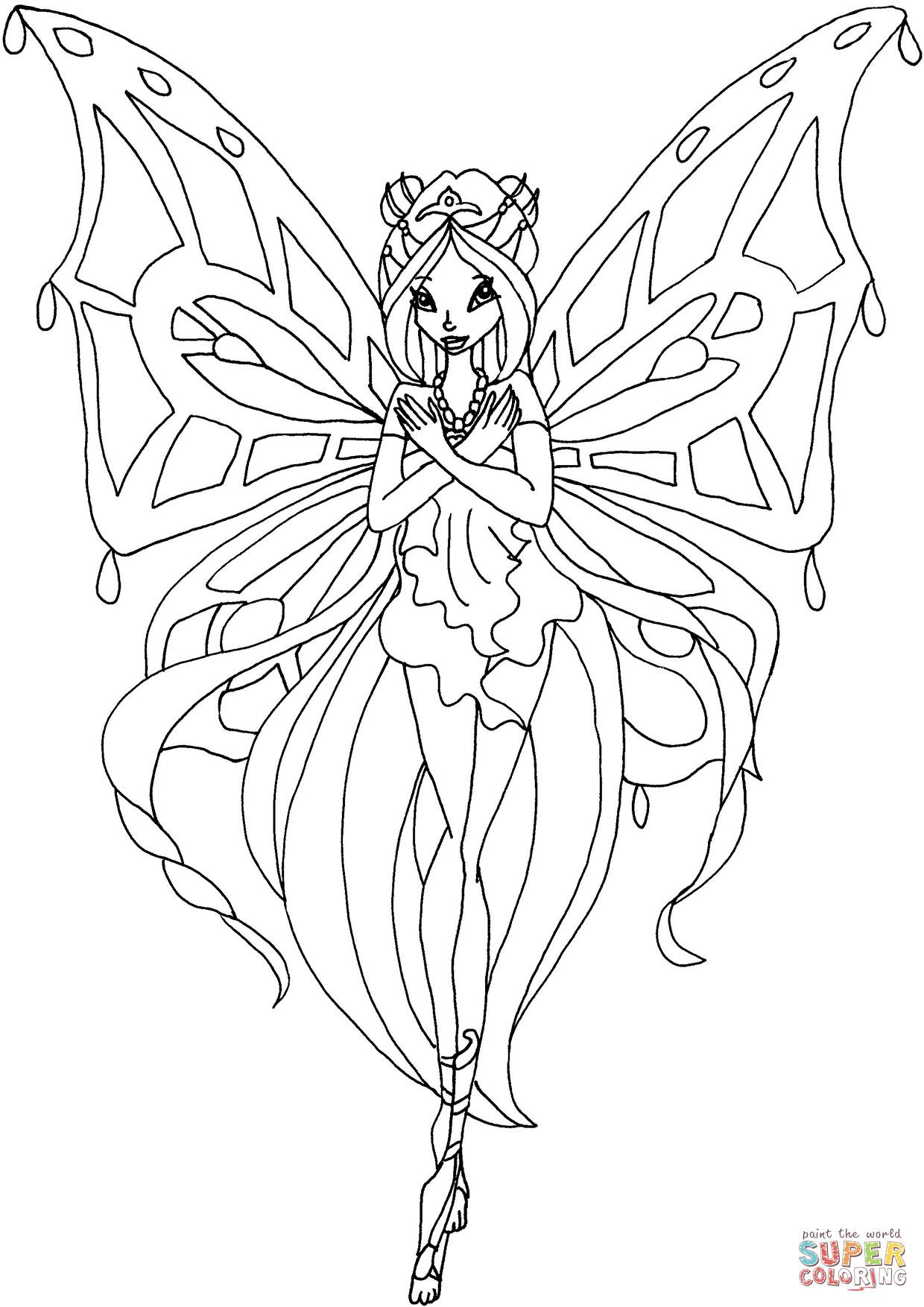 Winx Club Ausmalbilder  Ausmalbild Enchantix Flora