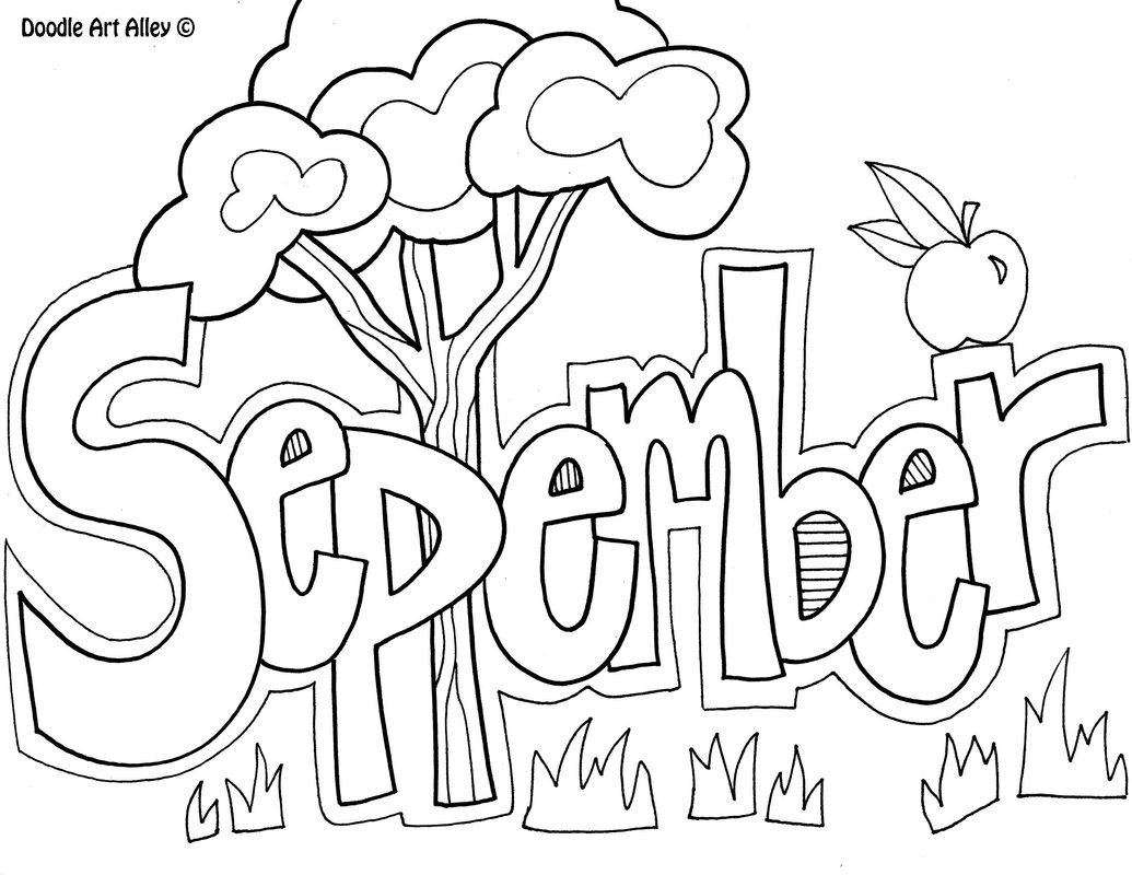 Wochentage Ausmalbilder  September Coloring Page Diy children