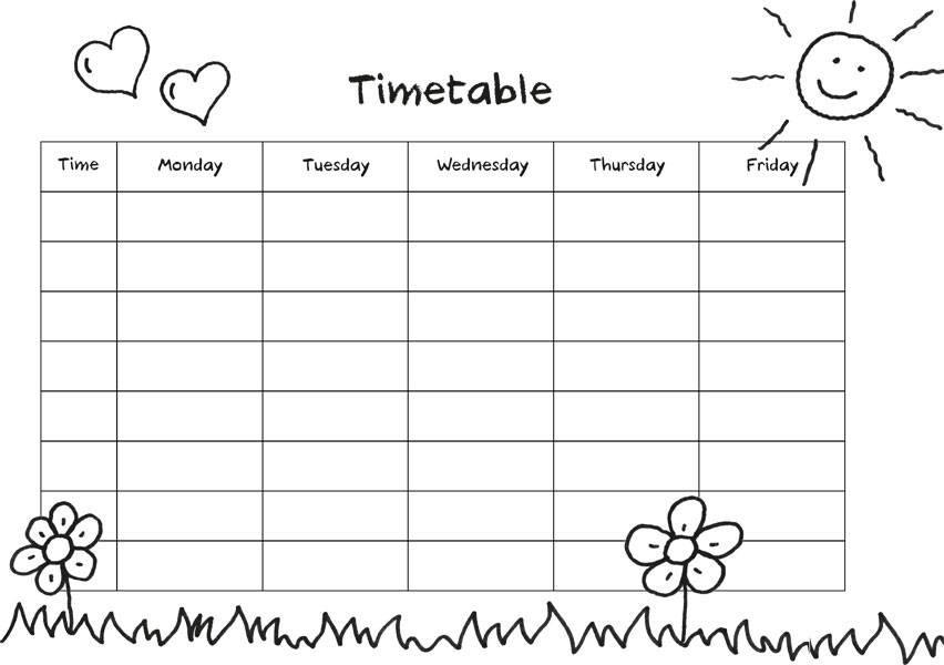 Wochentage Ausmalbilder  Kostenlose Malvorlage Stundenpläne zum Ausmalen flowering