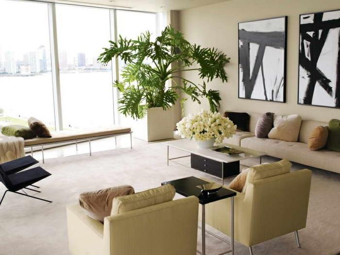 Wohnzimmer Pflanzen  Wohnung dekorieren 55 Innendeko Ideen in 6 praktischen