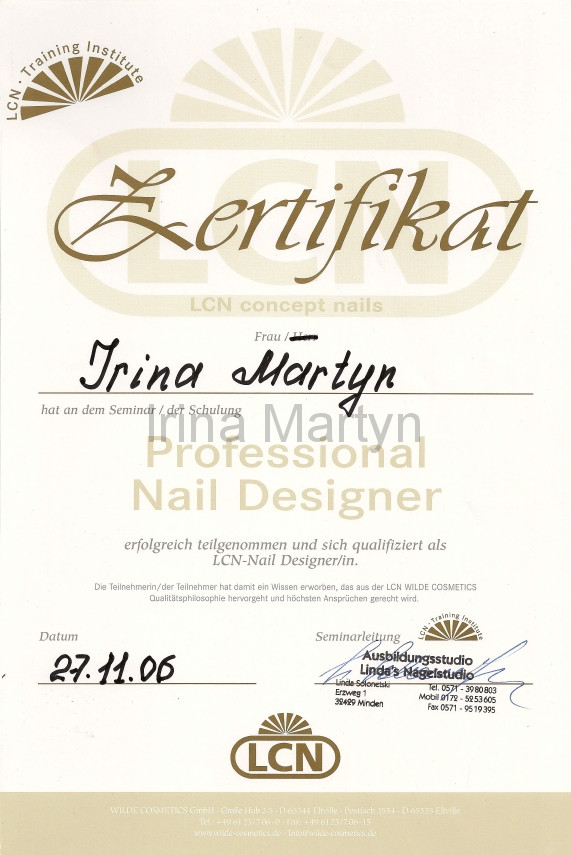 Zertifikat Nageldesign  Ausbildungszertifikate Nagelstudio Bielefeld
