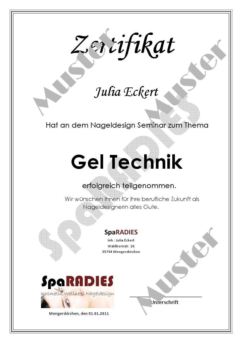 Zertifikat Nageldesign  Kosmetik Großhandel24 Nageldesign Selbststudium Schulung
