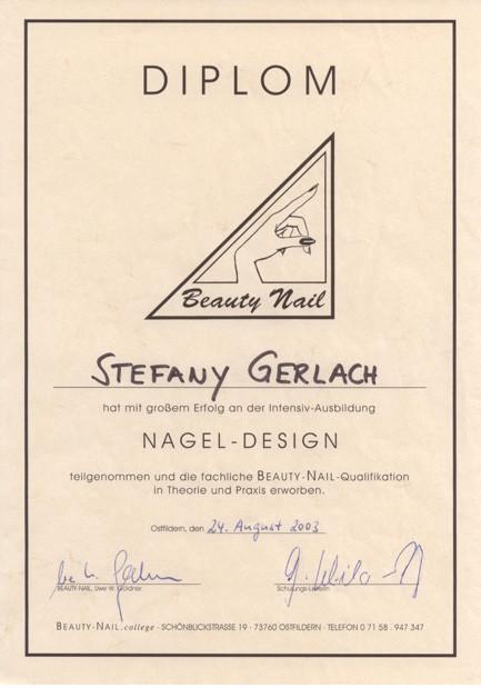 Zertifikat Nageldesign  beautypartner Stefany Gerlach