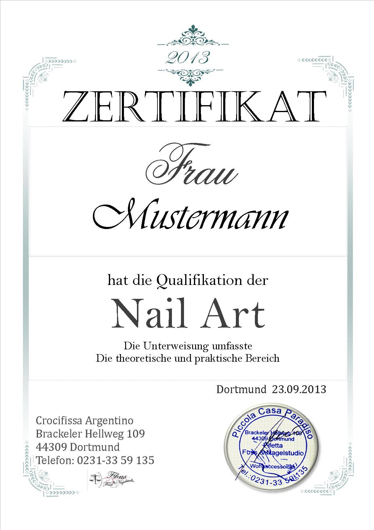 Zertifikat Nageldesign  Diplom • Urkunden • Zertifikat 『♥』12 Diplom Urkunde