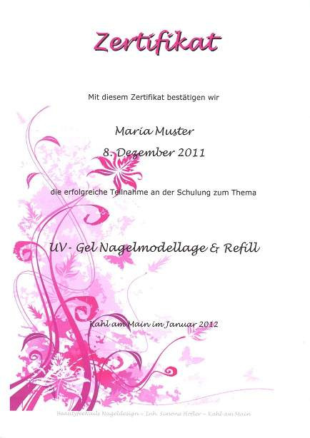 Zertifikat Nageldesign  XXXL Profi Nageldesign Schulung 7 Zertifikate e