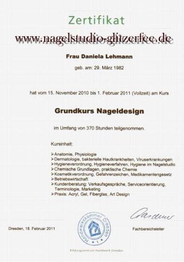 Zertifikat Nageldesign  Unsere Qualifikationen Nagelstudio Glitzerfee