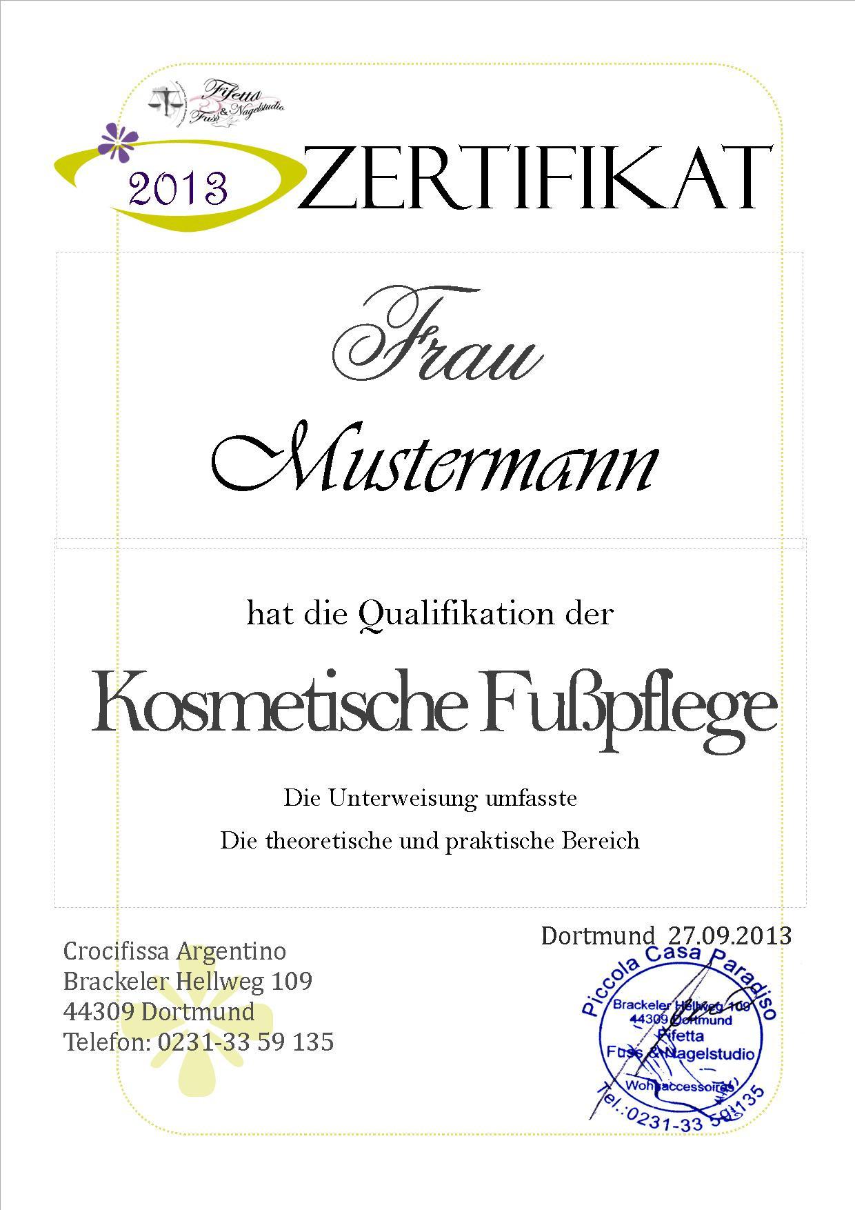 Zertifikat Nageldesign  Diplom • Urkunden • Zertifikat 『♥』10 Diplom Urkunde