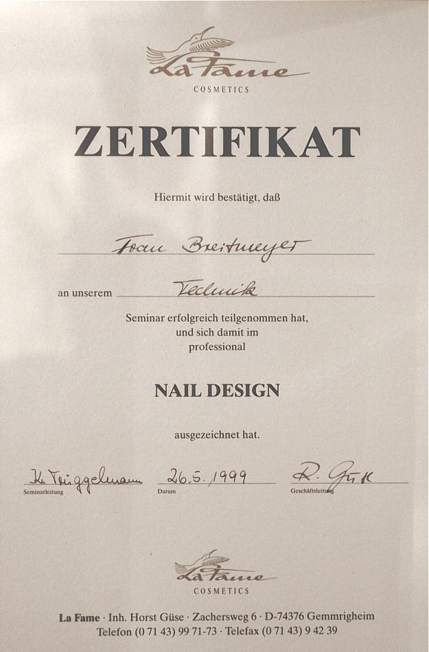 Zertifikat Nageldesign  Nageldesin Zertifikate
