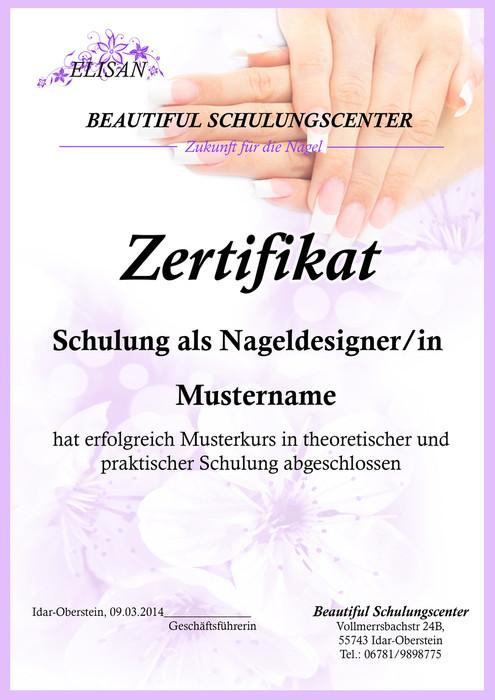 Zertifikat Nageldesign  Beautiful Nails Schulungszentrum Startseite
