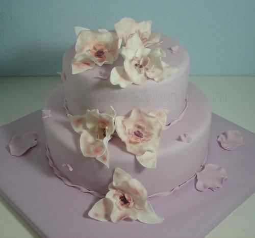 Zweistöckige Hochzeitstorte  Zweistöckige Hochzeitstorte mit Orchideen – mysweetworld