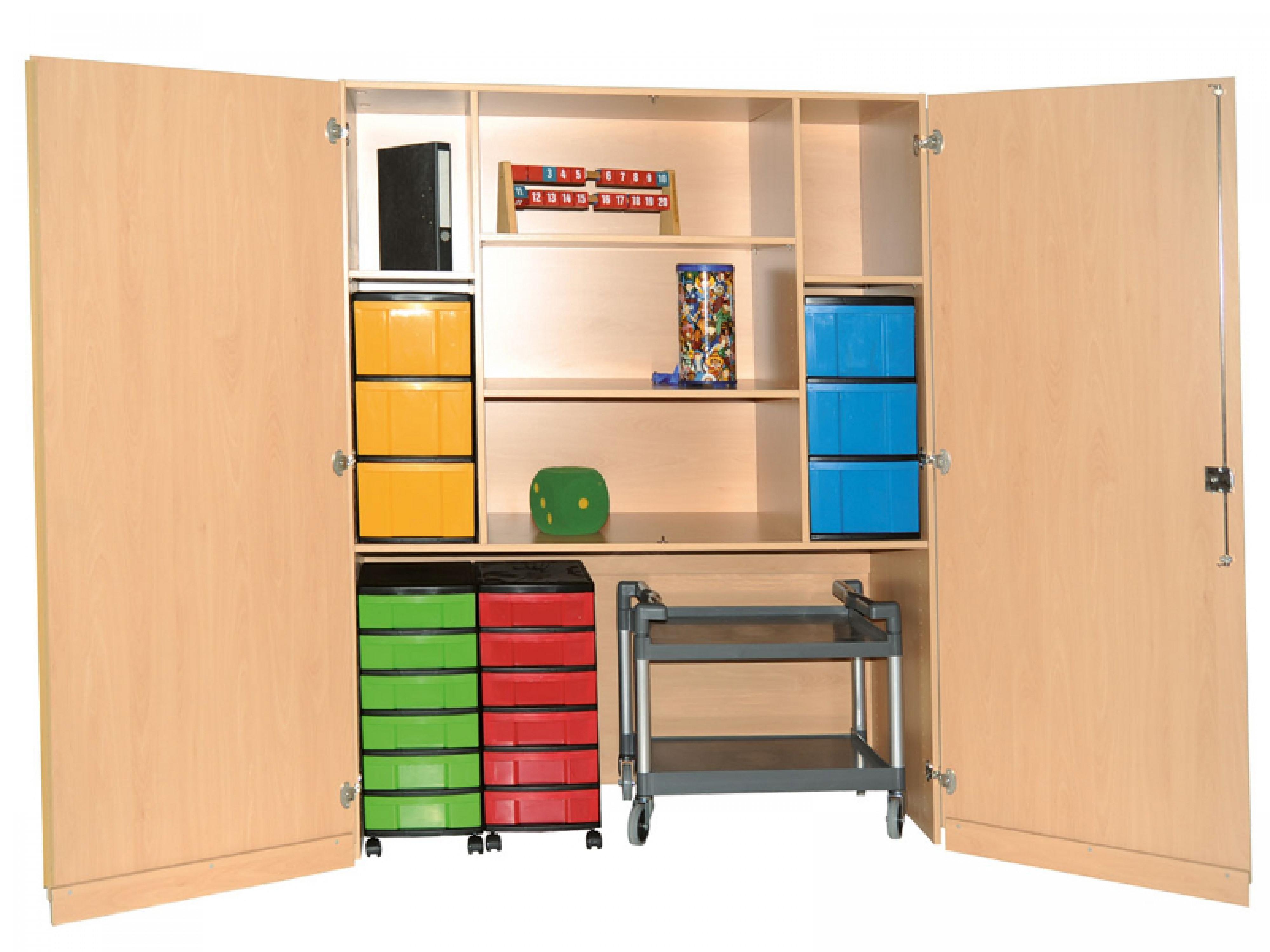 Abschließbarer Schrank  Abschließbarer Schrank mit 5 Fächern und 18 Boxen