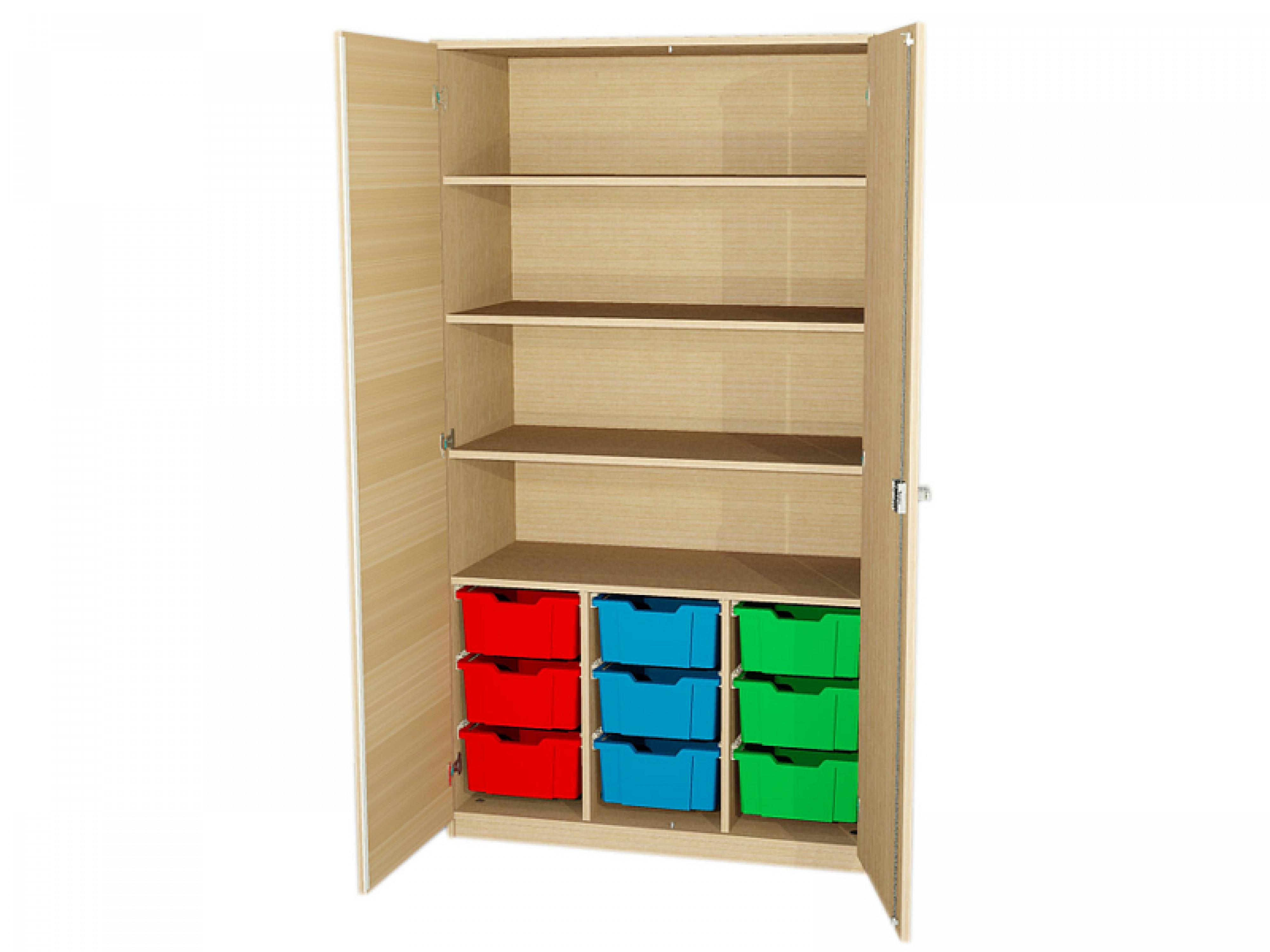 Abschließbarer Schrank  Abschließbarer Schrank mit 4 Fächern und 9 hohen Boxen