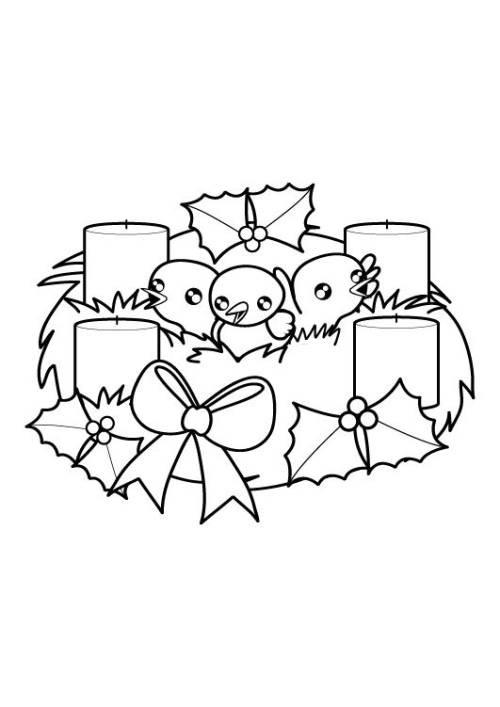 Ausmalbilder Adventskranz  Kostenlose Malvorlage Weihnachten Adventskranz zum