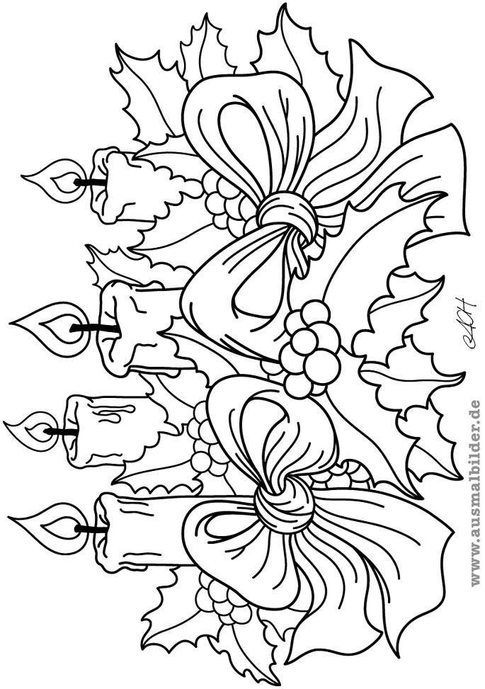 Ausmalbilder Adventskranz  Ausmalbilder Advent Ausmalbilder Coloring Pages