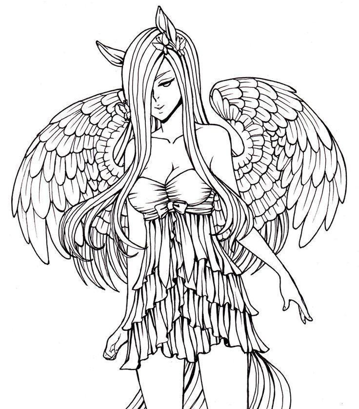 Ausmalbilder Anime Engel  Ausmalbilder Anime Engel