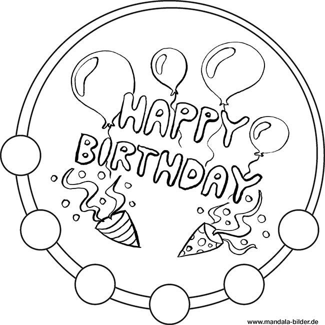 Ausmalbilder Geburtstag Papa  Happy Birthday Mandala Vorlage