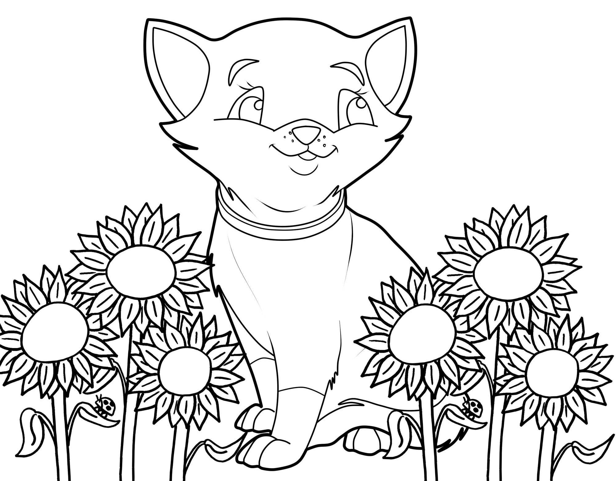 Ausmalbilder Katzen Kostenlos  Kostenlose Malvorlage Katzen Katze und Sonnenblumen zum
