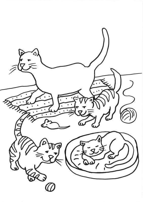 Ausmalbilder Katzen Kostenlos  Ausmalbild Katzen Katzenfamilie ausmalen kostenlos
