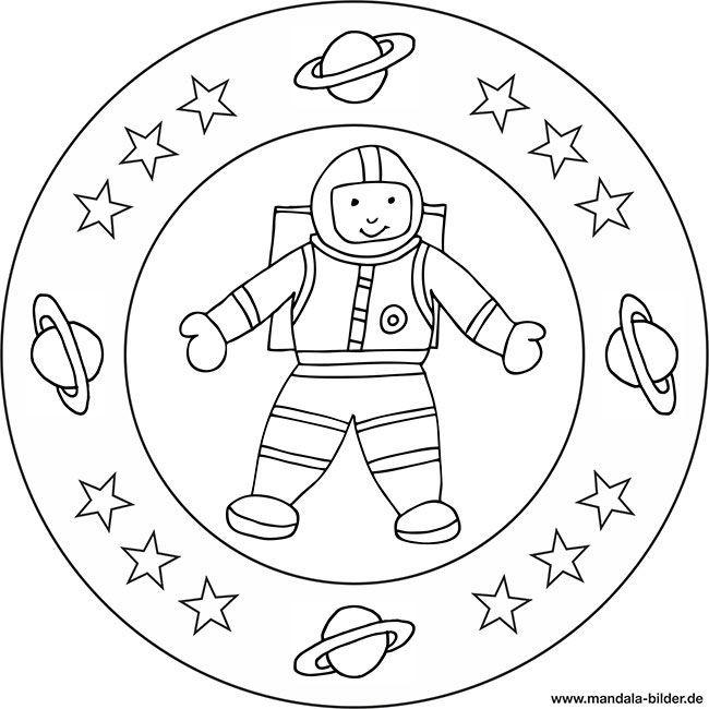 Ausmalbilder Weltraum  Mandala und Ausmalbild Astronaut im Weltraum