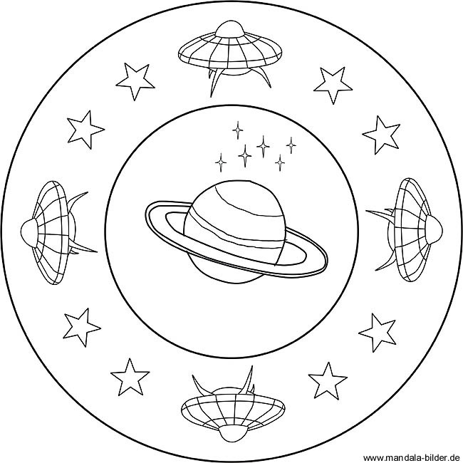 Ausmalbilder Weltraum  Kinder Mandala UFO im Weltraum als kostenloses Ausmalbild