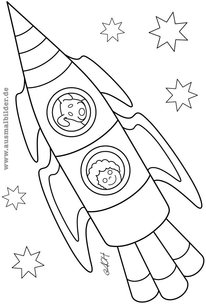 Ausmalbilder Weltraum  ausmalbilder rakete Kinder basteln Pinterest