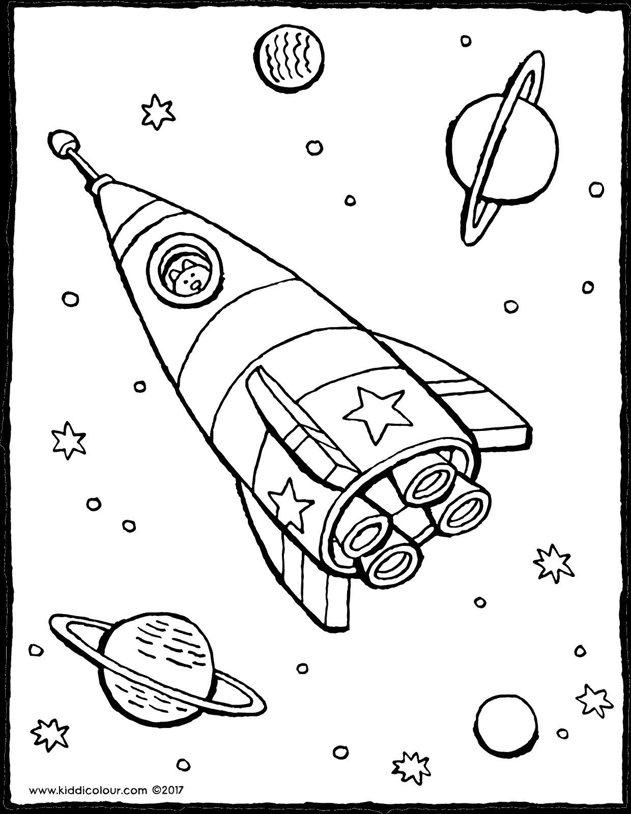 Ausmalbilder Weltraum  Rakete im Weltraum kiddimalseite
