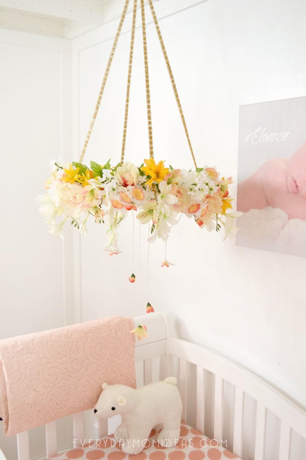 Baby Diy  DIY Floral Baby Mobil Chandelier Full Tutorial