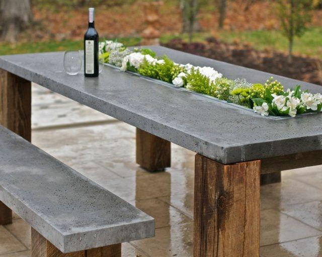 Beton Tisch Diy  Tisch Beton Holz bepflanzt originelle Idee