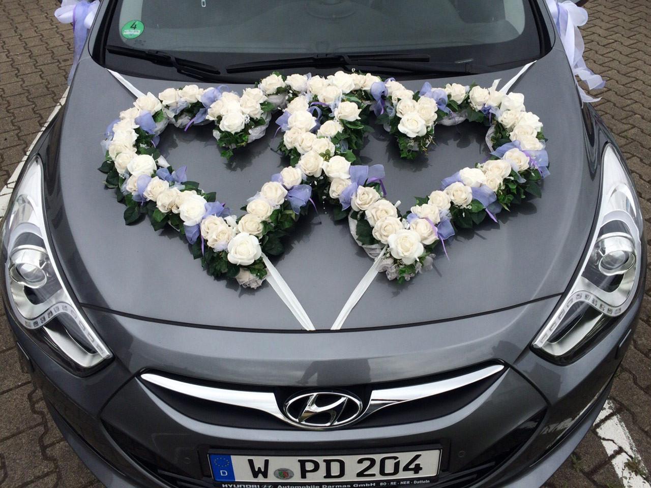 Blumenschmuck Hochzeit Auto  Blumen Sanders Hochzeit Autodeko