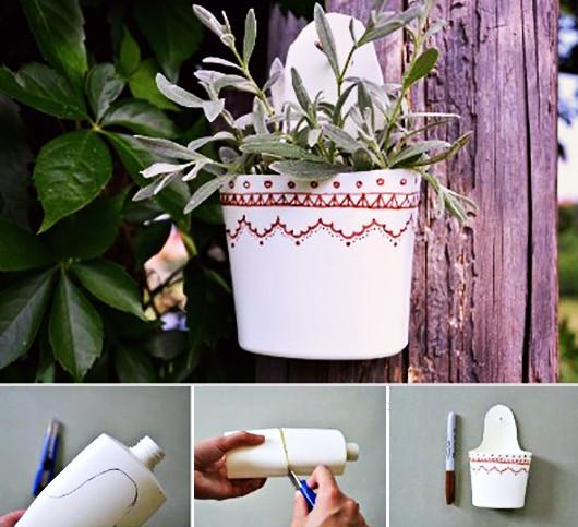 Blumentopf Aufhängen Diy  Bastelidee mit Plastikflaschen für Blumentopf zum