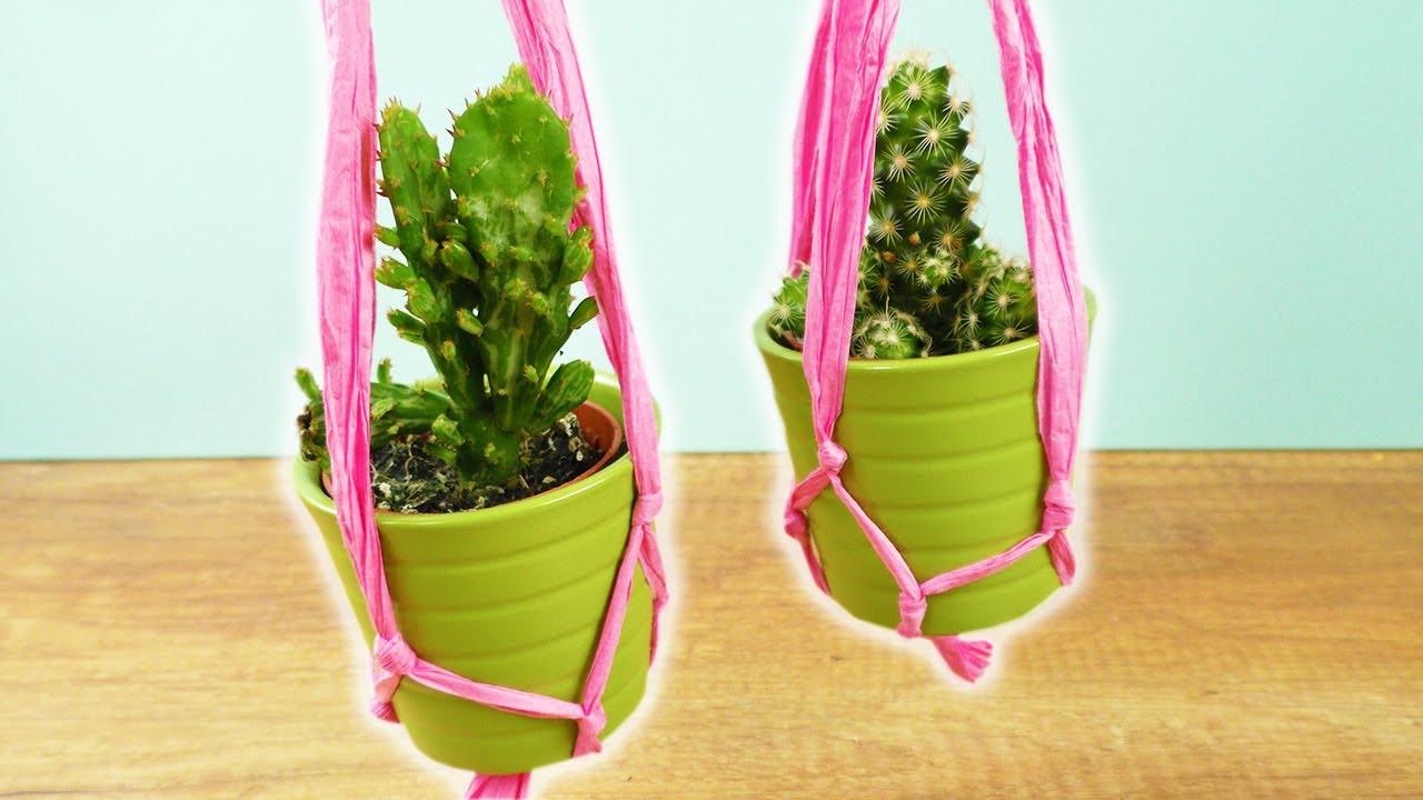 Blumentopf Aufhängen Diy  DIY Deko Blumen Ampel mit Makramee 🌵 Kakteen aufhängen