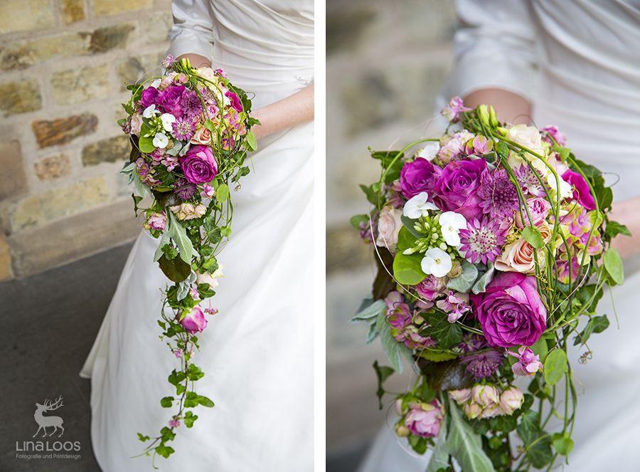 Brautstrauß 2019  Bunter Brautstrauß mit pinken Rosen Brautstrauß