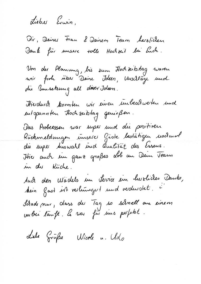 Brief An Meinen Sohn Zur Hochzeit  Nicole und Udo