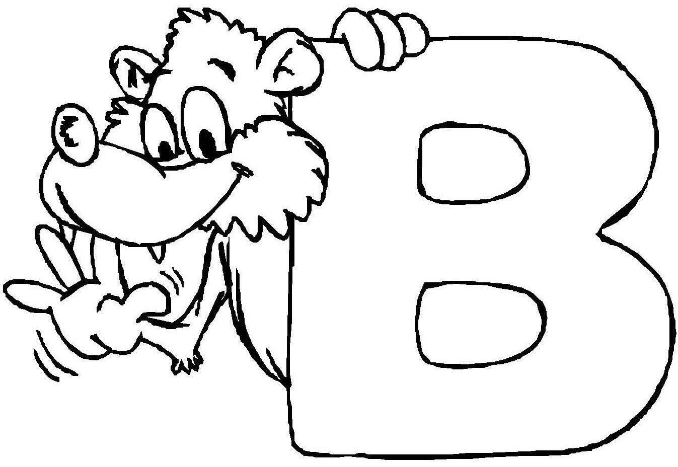 Buchstaben Malvorlagen  Kostenlose Malvorlage Buchstaben lernen Tierschrift B zum