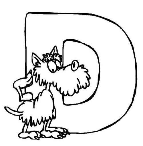 Buchstaben Malvorlagen  Kostenlose Malvorlage Buchstaben lernen Tierschrift D zum