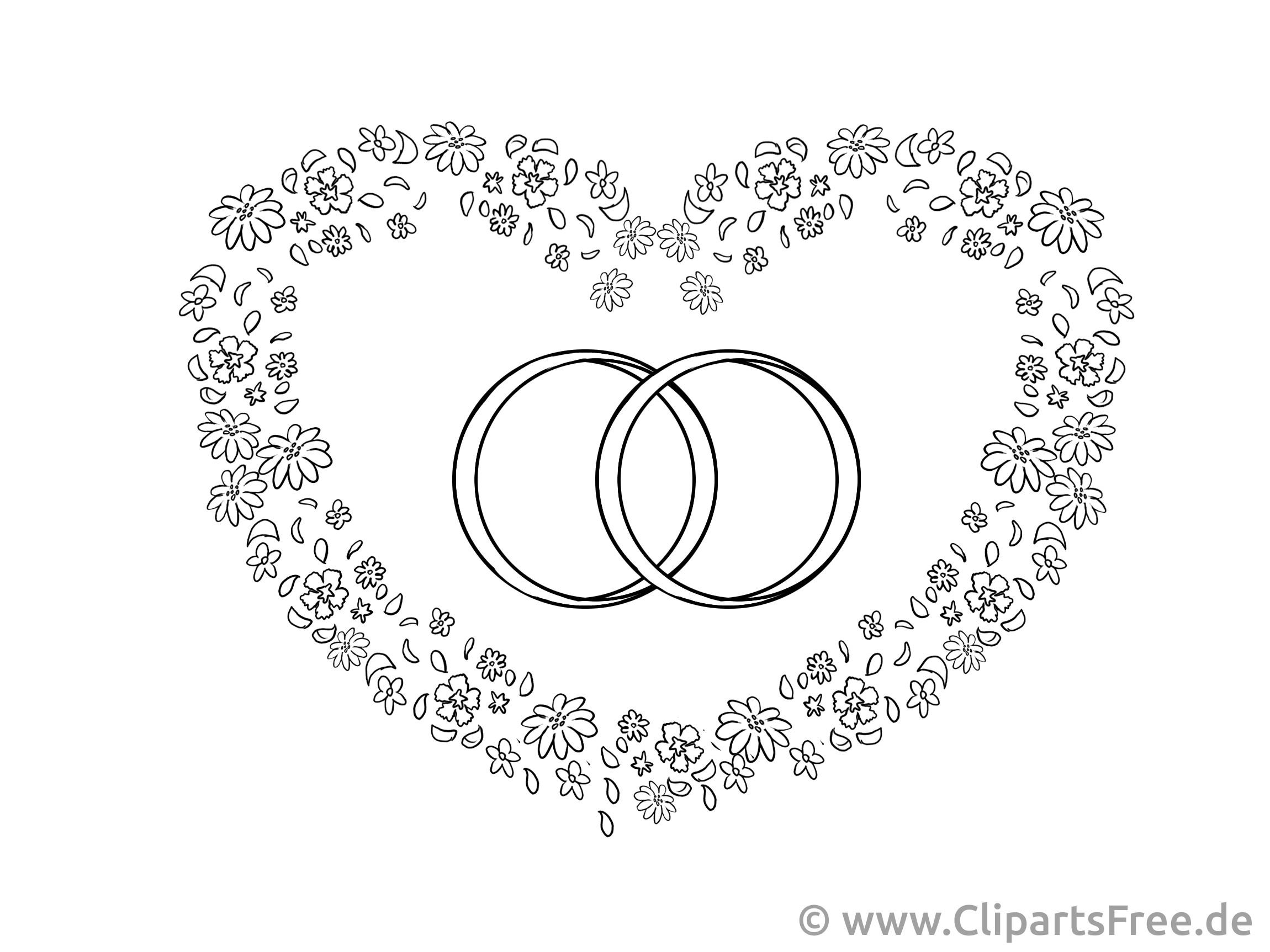 Cliparts Hochzeit Kostenlos Herunterladen  Herz und Trauringe Zeichnung Clipart Bild kostenlos