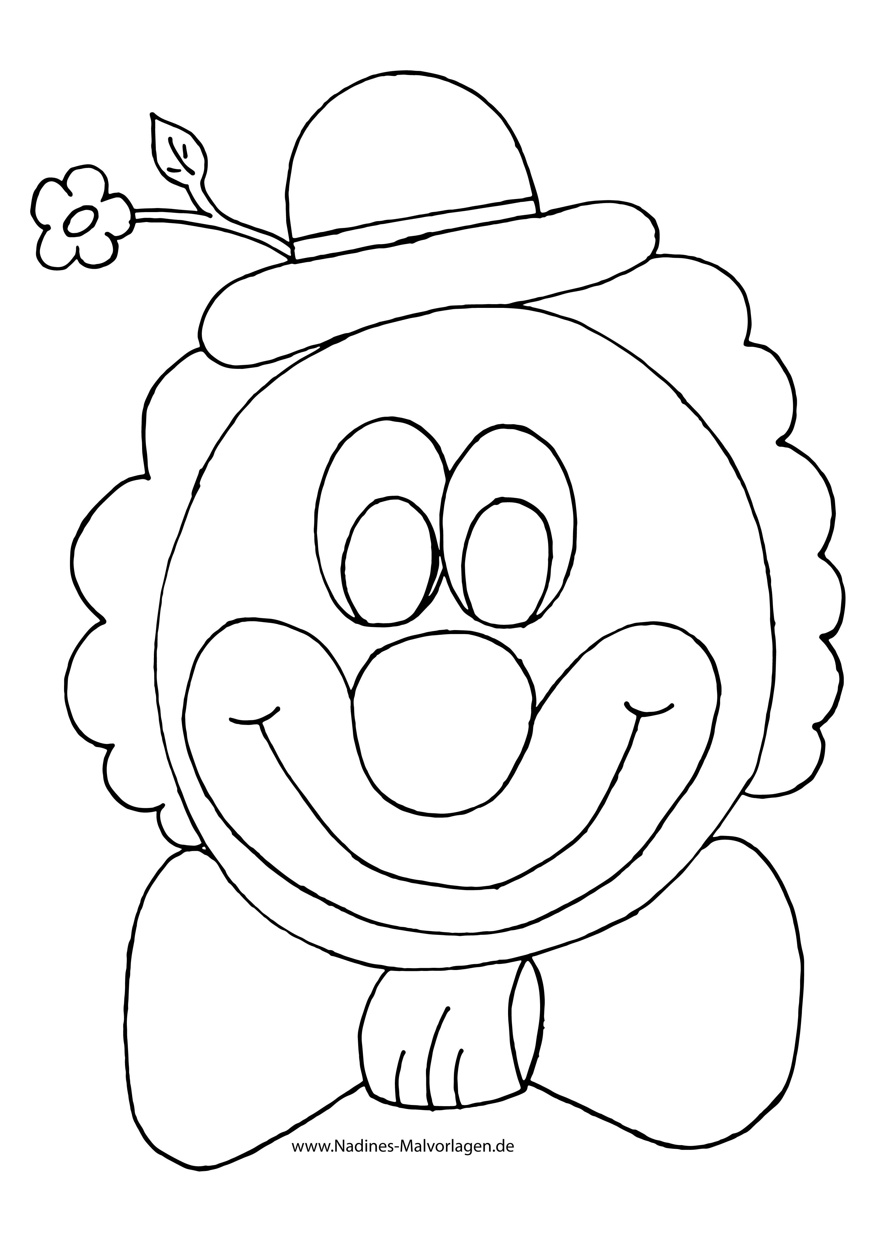 Clown Ausmalbilder  Bunter Clown mit Blume & Fliege Ausmalbild Malvorlagen