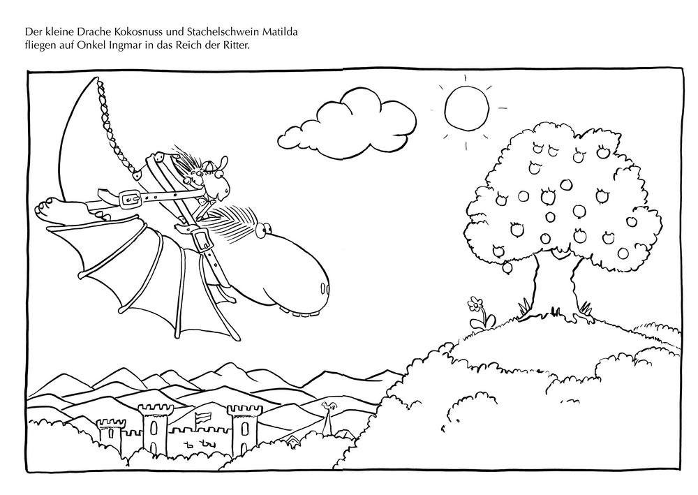 Der Kleine Drache Kokosnuss Ausmalbilder  Der kleine Drache Kokosnuss Adventskalender Auf dem
