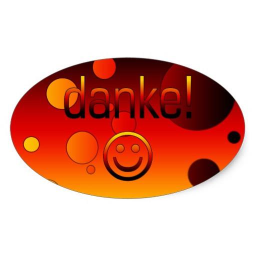 Deutsche Geschenke  Deutsche Geschenke Danke Danke Smiley Ovaler Aufkleber