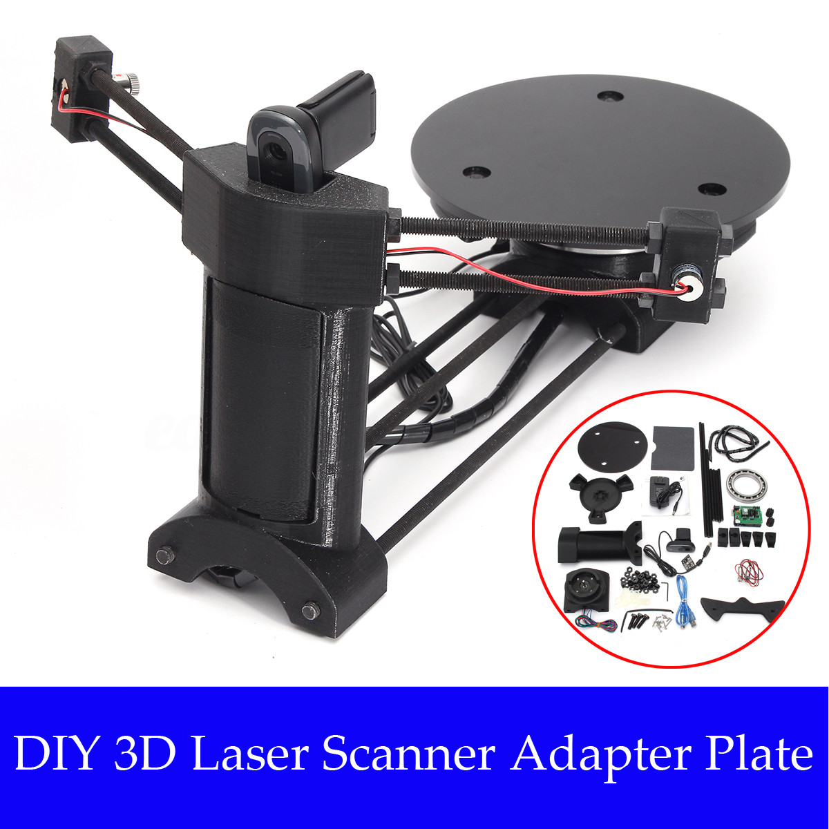 Diy 3D Scanner  Black Open Source DIY 3D Laser Scanner Adapter Plate For