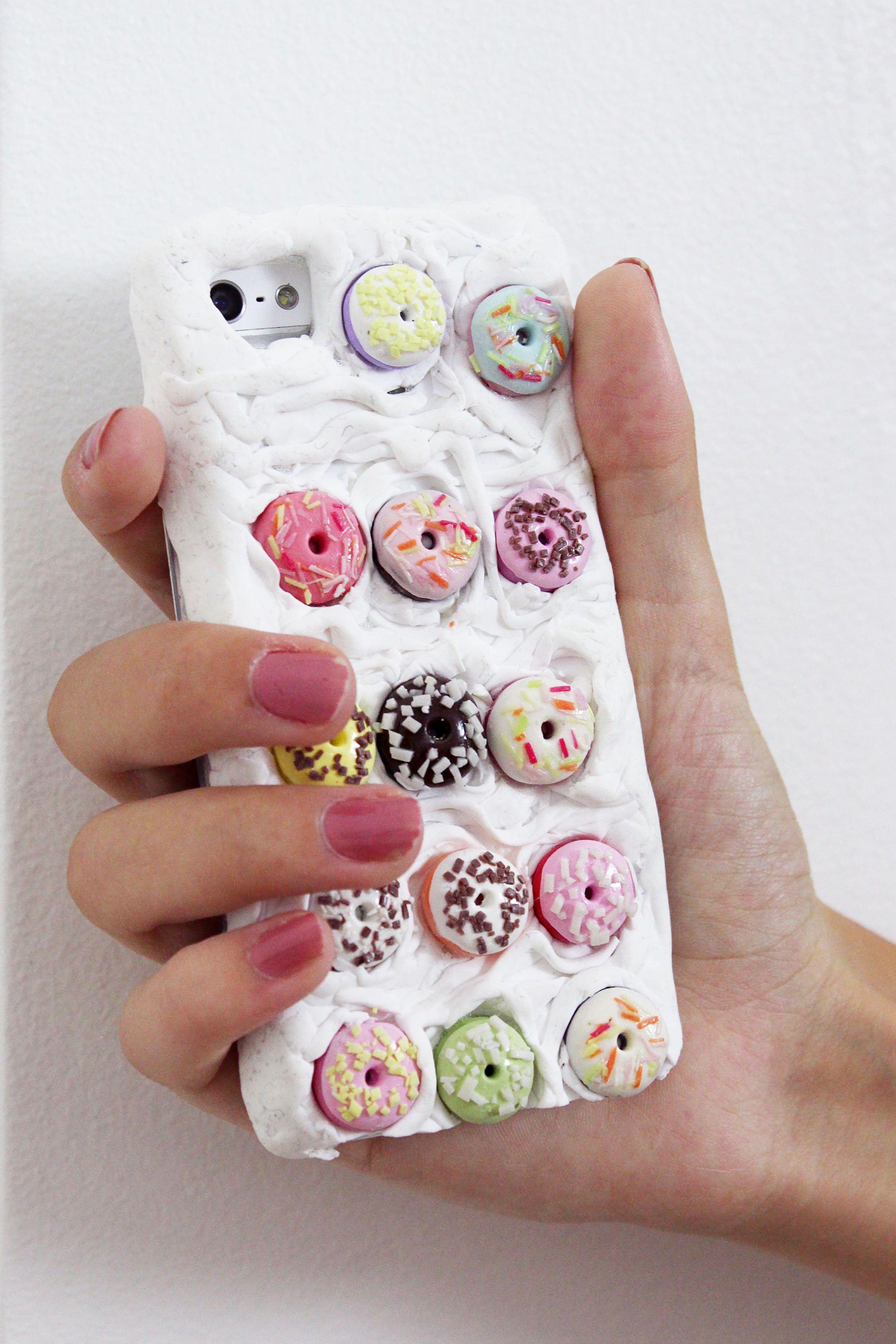 Diy Fimo  DIY Handyhüllen mit Fimo und Donuts selber basteln