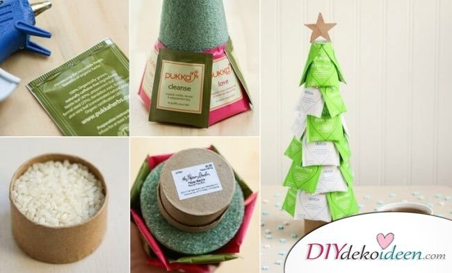 Diy Geschenkideen Weihnachten  diy geschenke weihnachten teebeutel weihnachtsbaum basteln