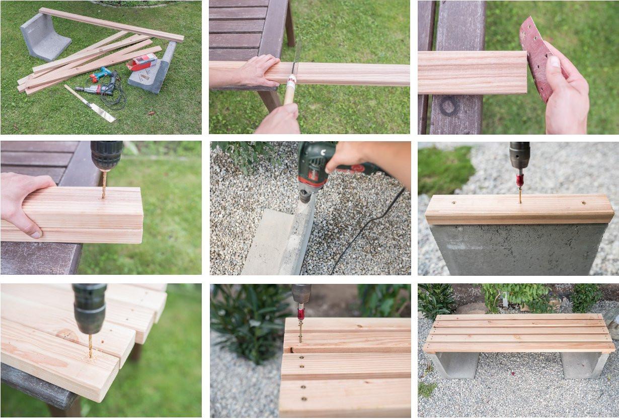 Diy Holz Deko  DIY Gartenbank mit Beton und Holz Leelah Loves