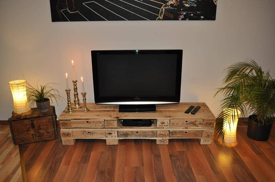 Diy Lowboard  DIY Pallet Low Media Table