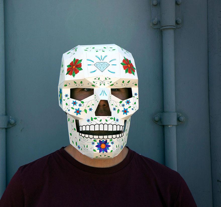 Diy Maske  DIY Geometric Paper Masks For Halloween