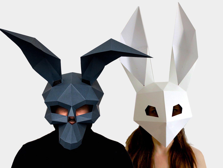 Diy Maske  Skull Mask Low Poly Rabbit Mask DIY printable Masks Instant