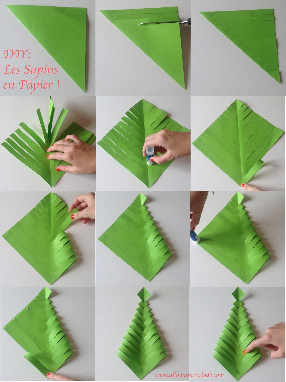 Diy Papier  Fabrique des Sapins de Noël en papier DIY facile et