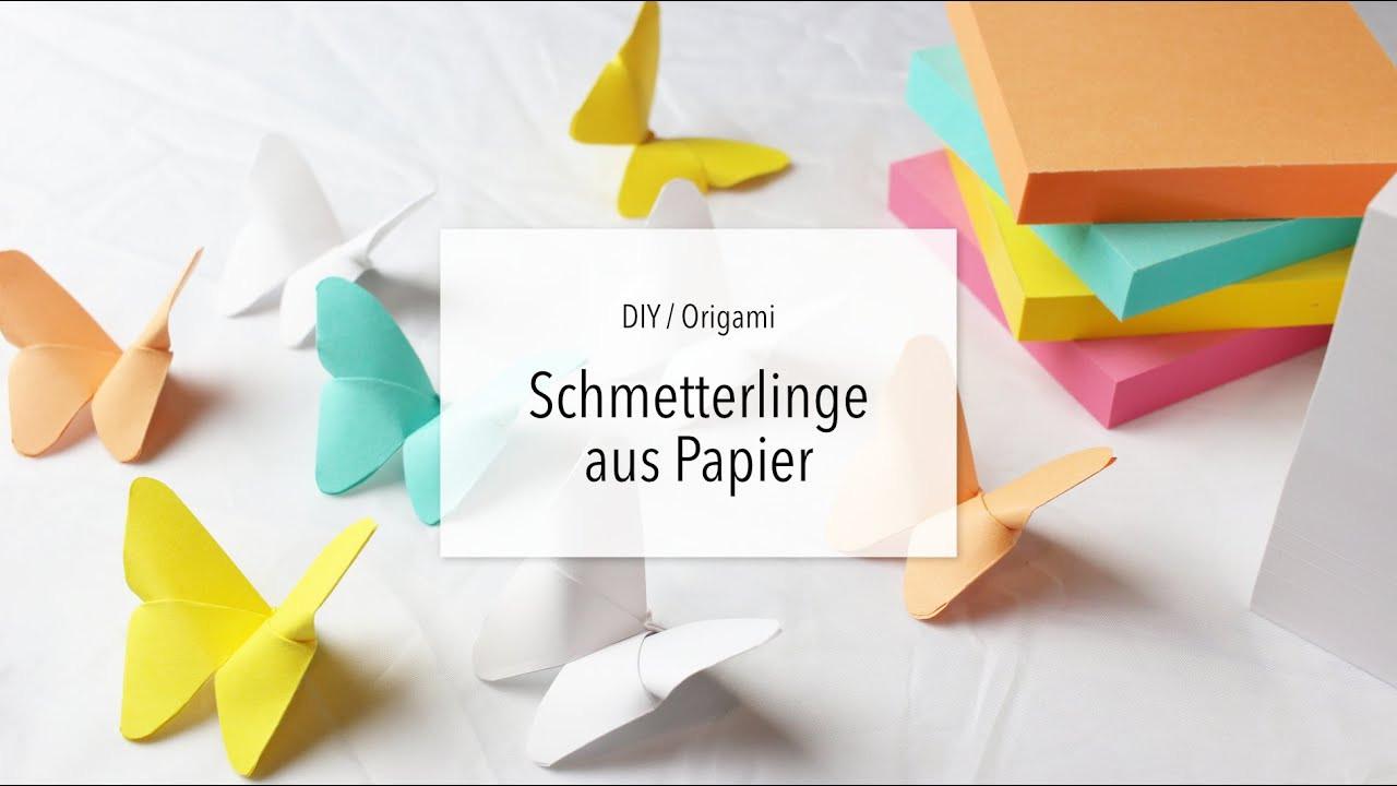 Diy Papier  DIY Origami Schmetterling falten aus Papier